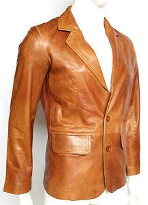 Manhattan 2 Mens Blazer Tan Long Lapel Tailored Fit Italian Leather Jacket Coat