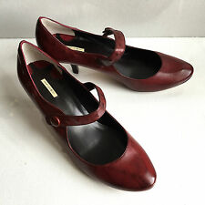 NEW Max Studio Andes women's burgundy red leather mary jane pumps 8.5 B  $178
