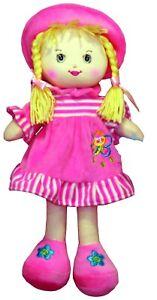 """13"""" (35 Cm) Evelyn Rag Doll Soft Plush Toy Doll Robe Rose & Chapeau Cheveux Blonds-afficher Le Titre D'origine Non Repassant"""