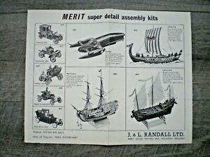 MERIT Original 1960 Full Line double sided dealer catalog