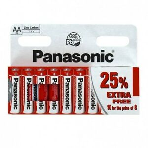 10 x AA Genuine Panasonic Zinc Carbon Batteries New R6 1.5V Long Expiry 02/2021