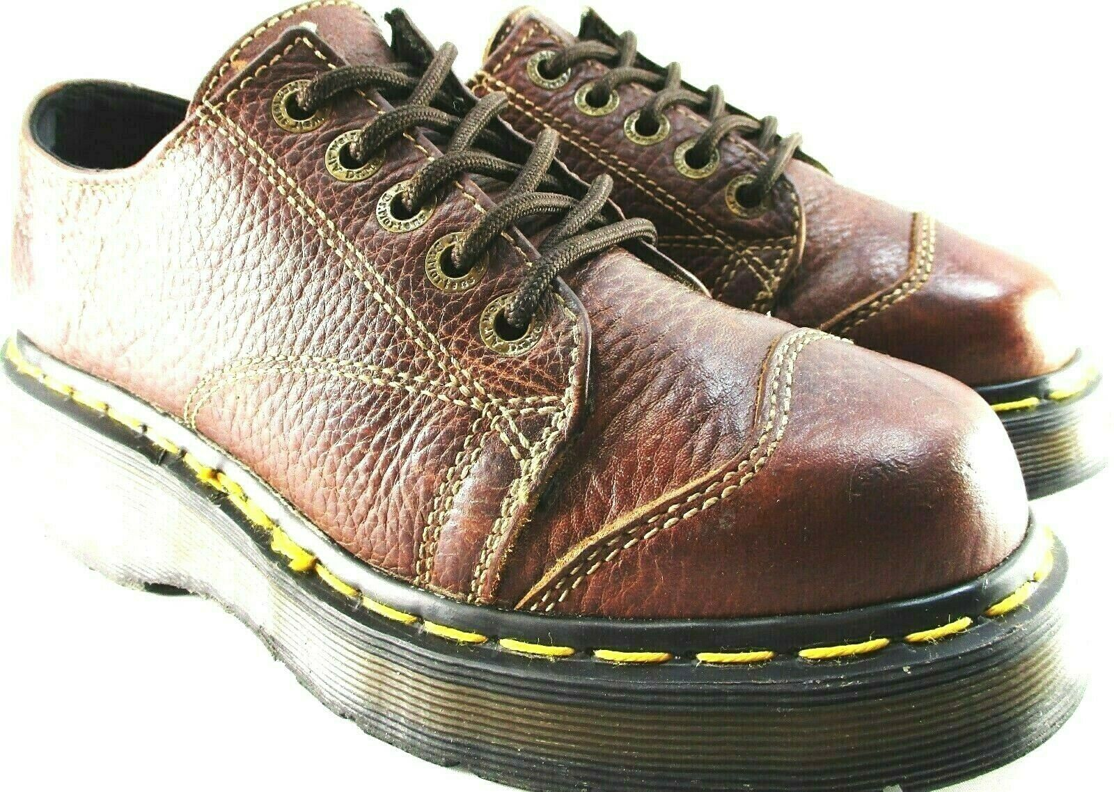 Dr Marten men shoes size 8 Brown air cushions Made In England Leather Lace Up.