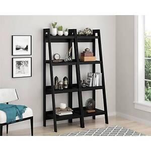 Leaning Ladder Bookcase Metal Set of 2 Office Storage Organizer Furniture Black