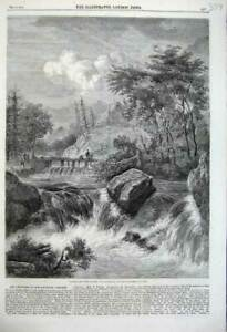 Old-Antique-Print-1860-Landscape-Water-River-Bridge-Falls-Mountains-Trees-19th