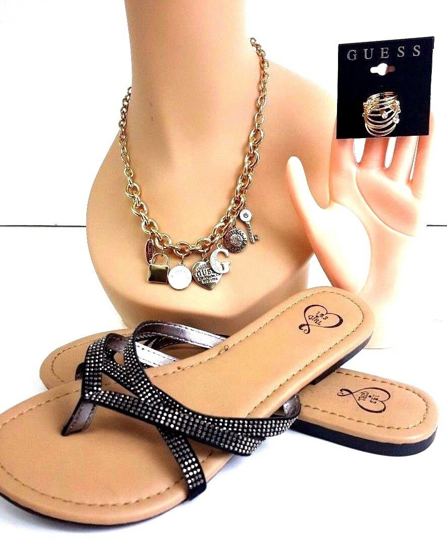 GUESS SET 3 PC. SANDAL Größe 7M, RINGS (9) Beaitiful Necklace with Guess Logo NEW