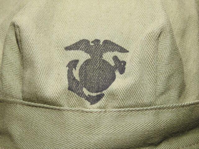 USMC Marine US WW2 8 POINT HBT COMBAT FATIGUE CAP MINT WPG Leatherneck Field Hat