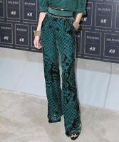 Balmain For H&m Green Velvet Silk Trousers Size Uk10/eur36/us6