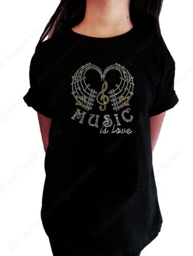 """Girls Rhinestone T-Shirt /"""" Music is Love with Music Notes /"""" in Size 3 to 14"""