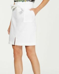 INC-Women-039-s-Skirt-White-Size-Large-L-Straight-Pencil-Linen-Paperbag-59-220