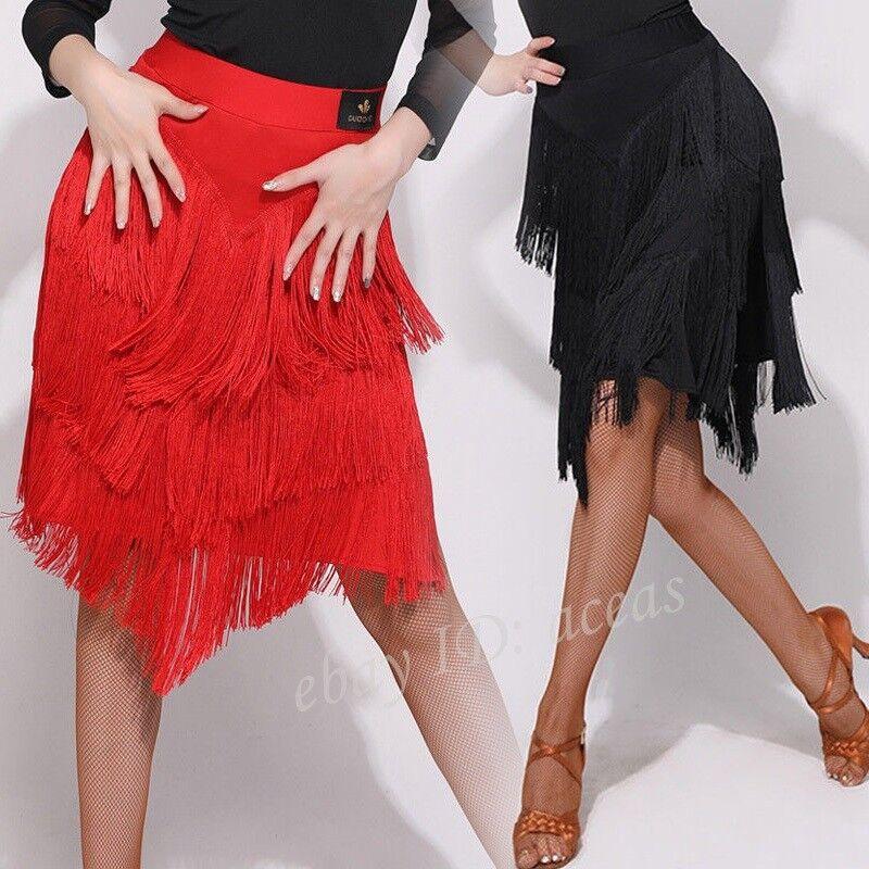 266b2a147 Women Tassel Latin Dance Skirt Salsa Tango Rumba Samba Cha Cha Ballroom  Dress H5