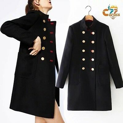 Vintage Women's Military WOOL Suit Blazer Double Breasted trench COAT Overcoat