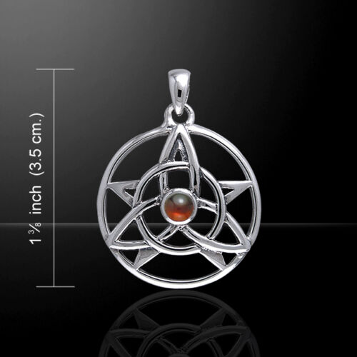 Druid Amulet Pentacle Trinity Choice of Gem Sterling Silver Pendant Peter Stone