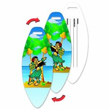Lenticular Luggage Travel Tag Surf Board Shape - Hula Girl #LTSB-371#