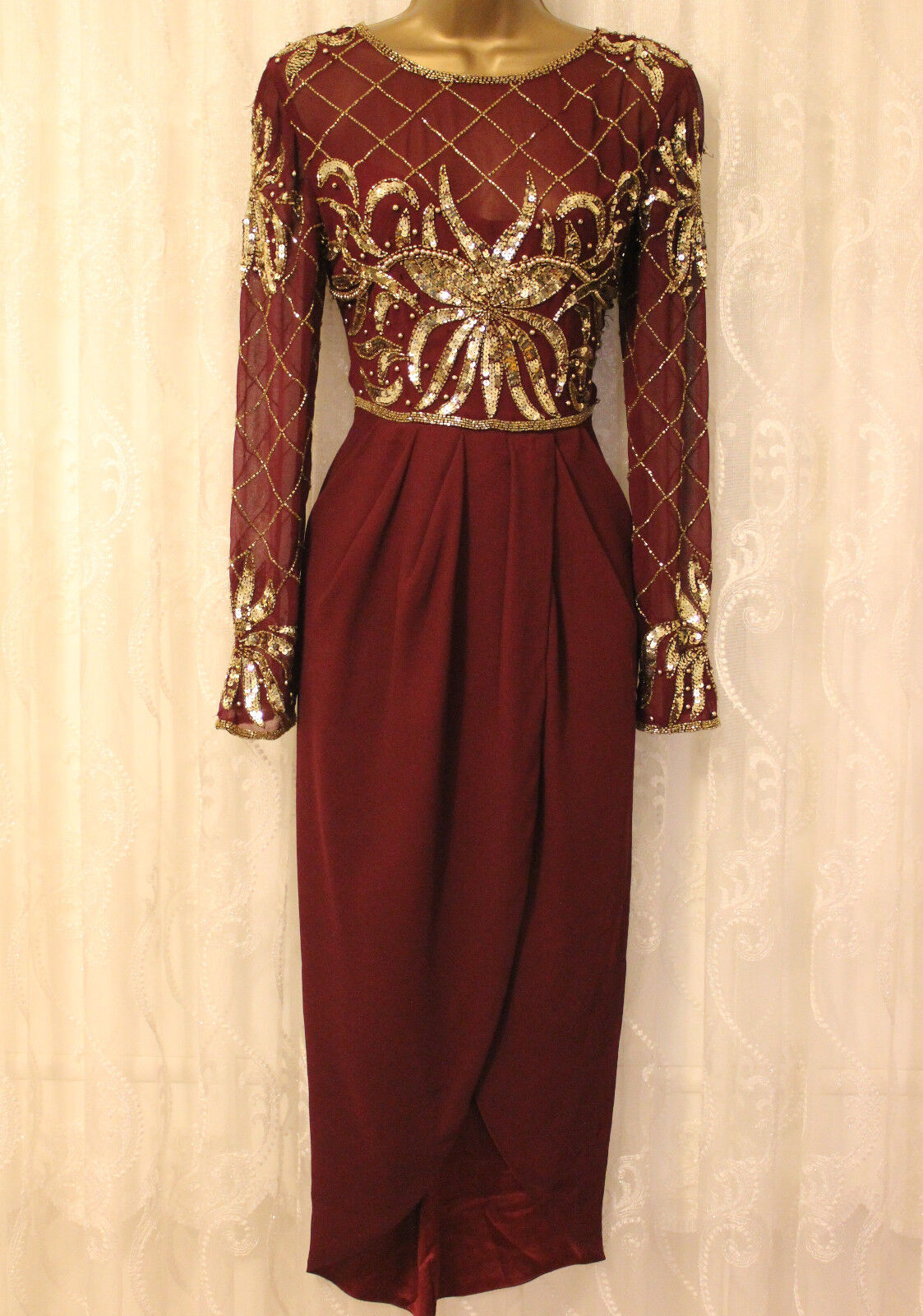 Virgos Lounge Burgundy rot Wrap Long Sleeve Embellished Party Midi Dress 6 34