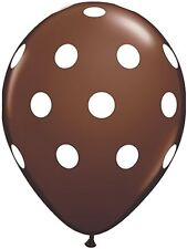"10 pc - 11"" Qualatex Big Polka Dot Brown Latex Balloon Party Decoration Dots"