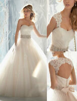 New White/Champagne Wedding Dress Bridal Gown Stock Size 6 8 10 12 14 16
