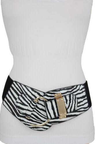 Women Fashion Wide Zebra Animal Print Belt Gold Metal Hook Buckle Hip Waist S M