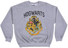 Harry Potter Crewneck Sweater Hog Warts Gray Pullover Mens Fleece Authentic XL