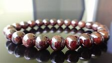 "Genuine GARNET bead bracelet for MEN (On Stretch) AAA Quality 8mm - 8"" inch"
