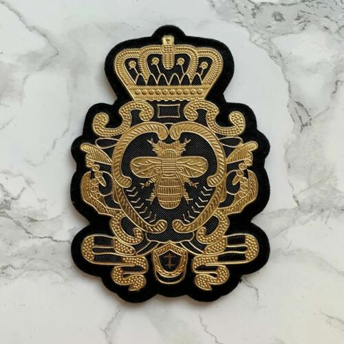 Black and gold Manchester worker bee military royal crown sew on patch