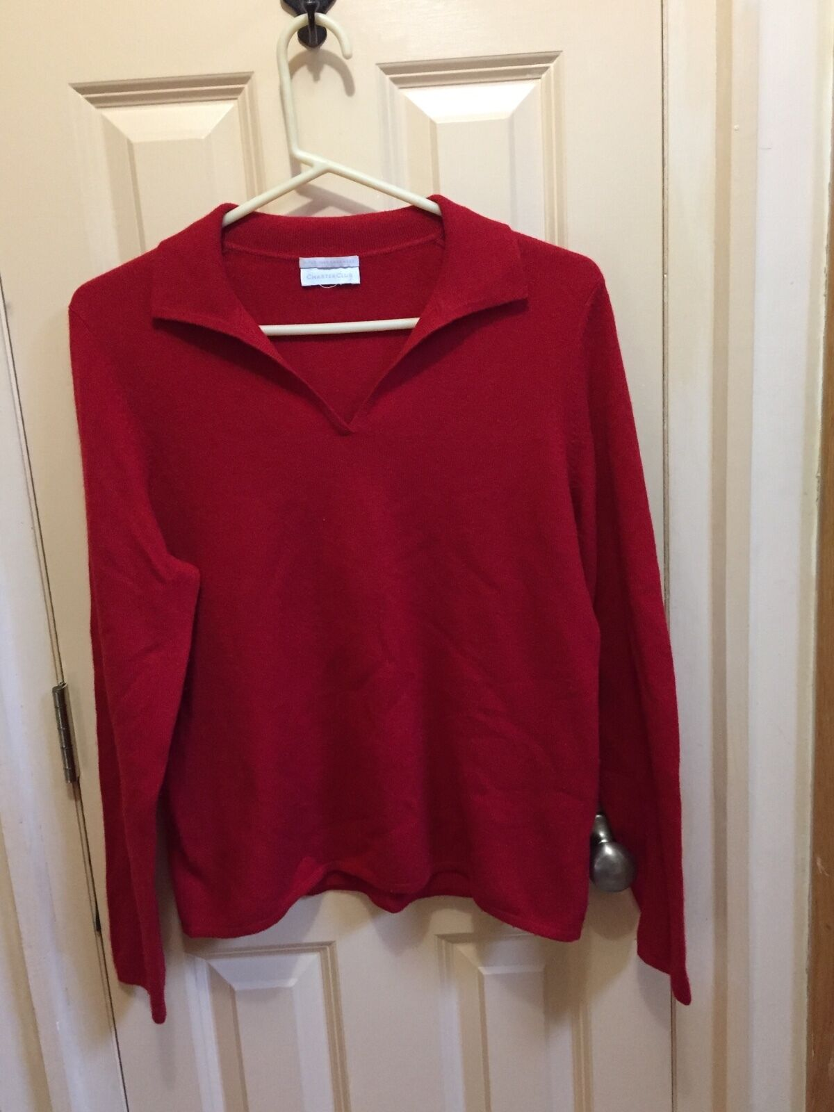 Red 2 ply 100 % cashmere top sweater blouse Charter Club m, l  collar