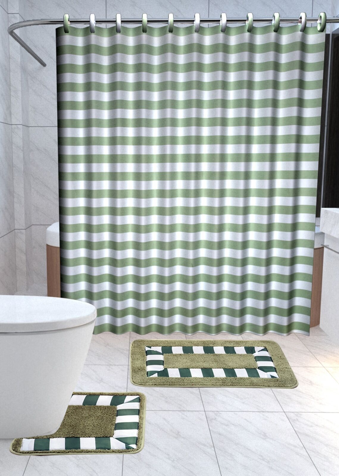 13pc Striped Sage Green Printed Design Bathroom Fabric Shower Curtain Set Hook