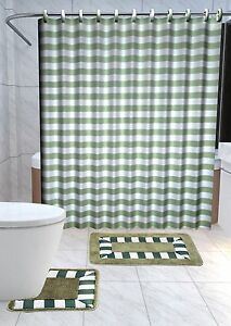 13PC PALM TREE GREEN Printed Design Bathroom Fabric Shower Curtain Set Hook