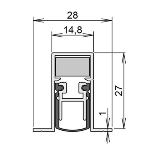 Athmer Schall-Ex Duo L-15//28OS  958 mm für Spalt bis 12mm Türdichtung Nr 1-404