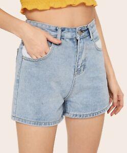 selezione migliore 4663d 66b5b Dettagli su Pantaloncini donna jeans shorts hot pants vita alta taglia L-XL