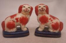 Staffordshire Pottery Figure - Pair of Red & White Standing Dogs