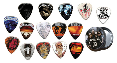 Gold Range Metallica 15 X Plectrums with Tin Guitar Picks