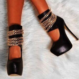 Womens-Round-Toe-Stiletto-Platform-Prom-Super-High-Heels-Strappy-Nightclub-Shoes