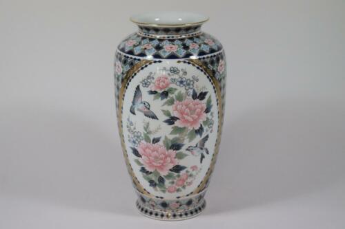RK243 Japanische Vase Porzellan Vogel Blumen Dekor Signatur Japan
