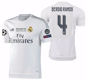 buy online 491f3 0afaa Details about ADIDAS SERGIO RAMOS REAL MADRID AUTHENTIC FINAL UCL MATCH  JERSEY 2015/16.