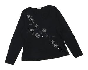 Marks-amp-Spencer-Womens-Size-16-Floral-Cotton-Black-Long-Sleeve-T-Shirt-Regular