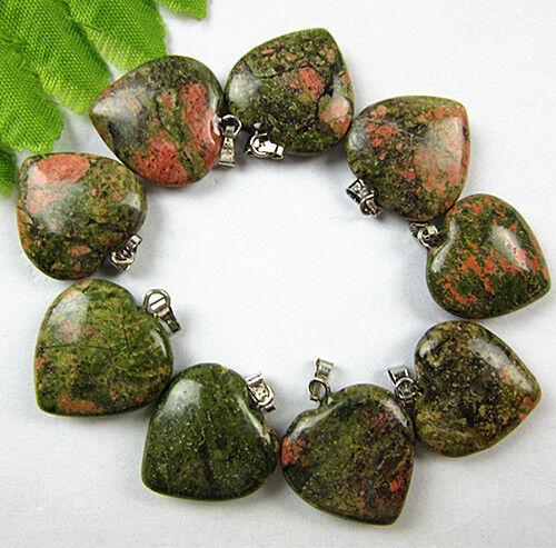 9PCS Beautiful unique green flame jasper carved heart pendant bead Vk173