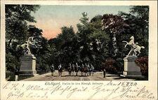 Stuttgart Partie i.d. Königlichen Anlagen Park Soldaten auf Pferden color 1904