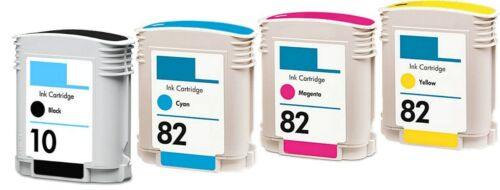 Cyan//Magenta//Yellow 4PK non-OEM for HP 10 Black /& for HP 82