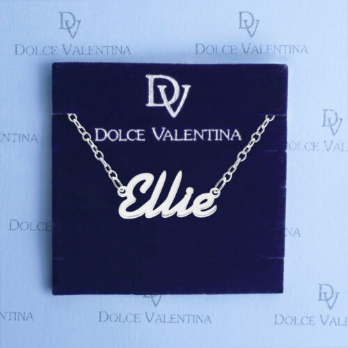 925 Sterling Silver ELLIE Name Necklace Womens Girls Pendant Gift Ready Stock