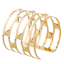 Fashion-Retro-Men-Women-Gold-Hollow-Out-Rivets-Punk-Bangle-Cuff-Wide-Bracelet thumbnail 1