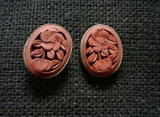 Vintage Chinese Silver gold plated Red Cinnabar Carved flower stud earrings