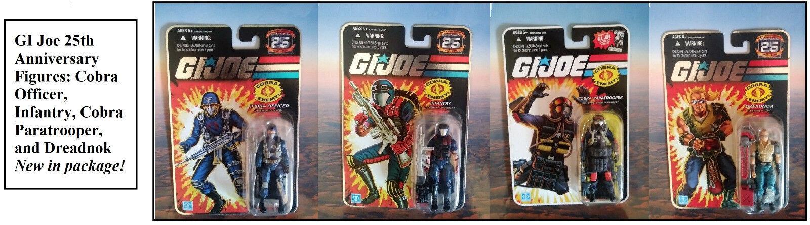 GI Joe Figure Set of 4 Cobra Officer, Infantry, Cobra Paratrooper, Dreadnok NEW