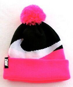 d20f91ba1ca Nike Pink   Black Knit Cuff Pom Pom Beanie Girl s 7-16 NWT
