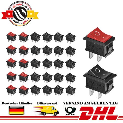 30 Stücke Druckschalter AC 6A 250V 10A 125V SPST  Wippschalter Rot Schwarz