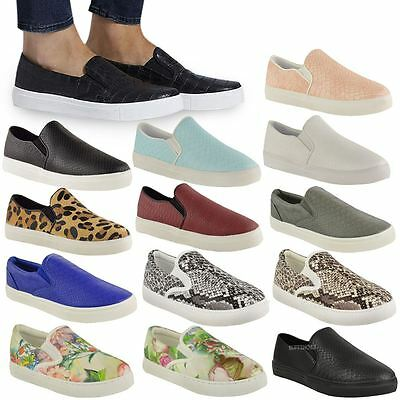WOMENS LADIES FLAT SLIP ON SNAKE PLIMSOLLS PUMPS TRAINERS SKATER SHOES SIZE