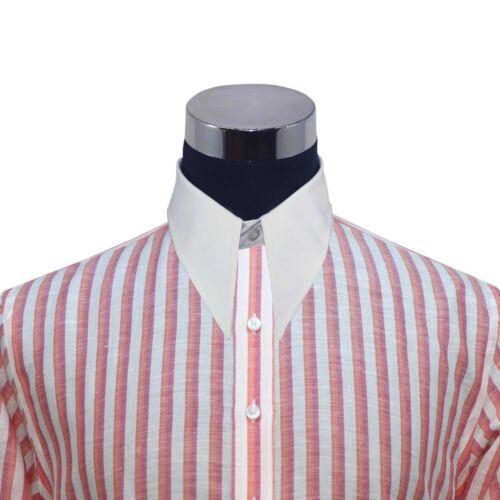 Spearpoint collar Mens Linen shirt Orange White st