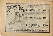 Stampa antica pubblicità SAPONE ALL' UOVO 1895 Old antique print