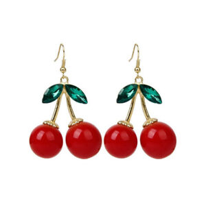 1Pair-Fashion-Women-Cherry-Rhinestone-Drop-Dangle-Ear-Hook-Earrings-Jewelry-Gift