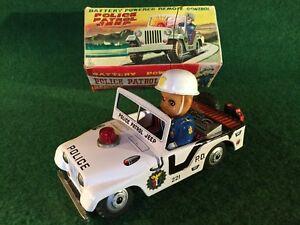Usagiya Rabbit Mark Police Patrol Jeep Car Tin Toy Vintage Japan Rare Boxed