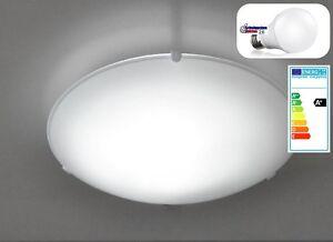 Moderne led deckenleuchte glas weiss Ø 25cm e27 deckenlampe flur